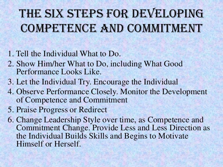 The Six Steps for Developing   Competence and Commitment1. Tell the Individual What to Do.2. Show Him/her What to Do, incl...