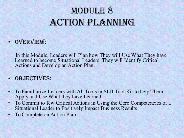 Module 8                 Action Planning• Overview:   In this Module, Leaders will Plan how They will Use What They have  ...