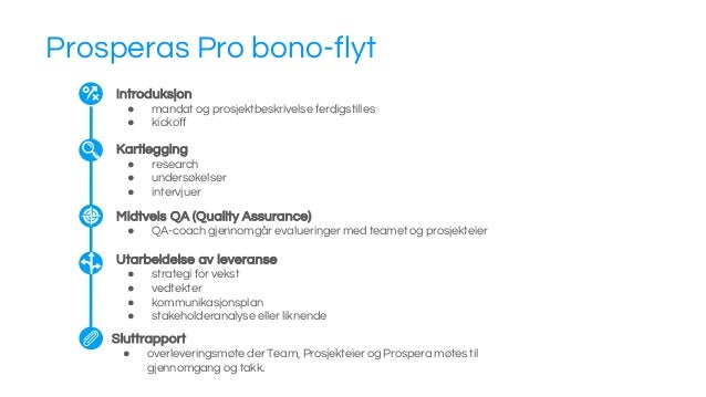 Prosperas Pro bono-flyt Sluttrapport ● overleveringsmøte der Team, Prosjekteier og Prospera møtes til gjennomgang og takk....