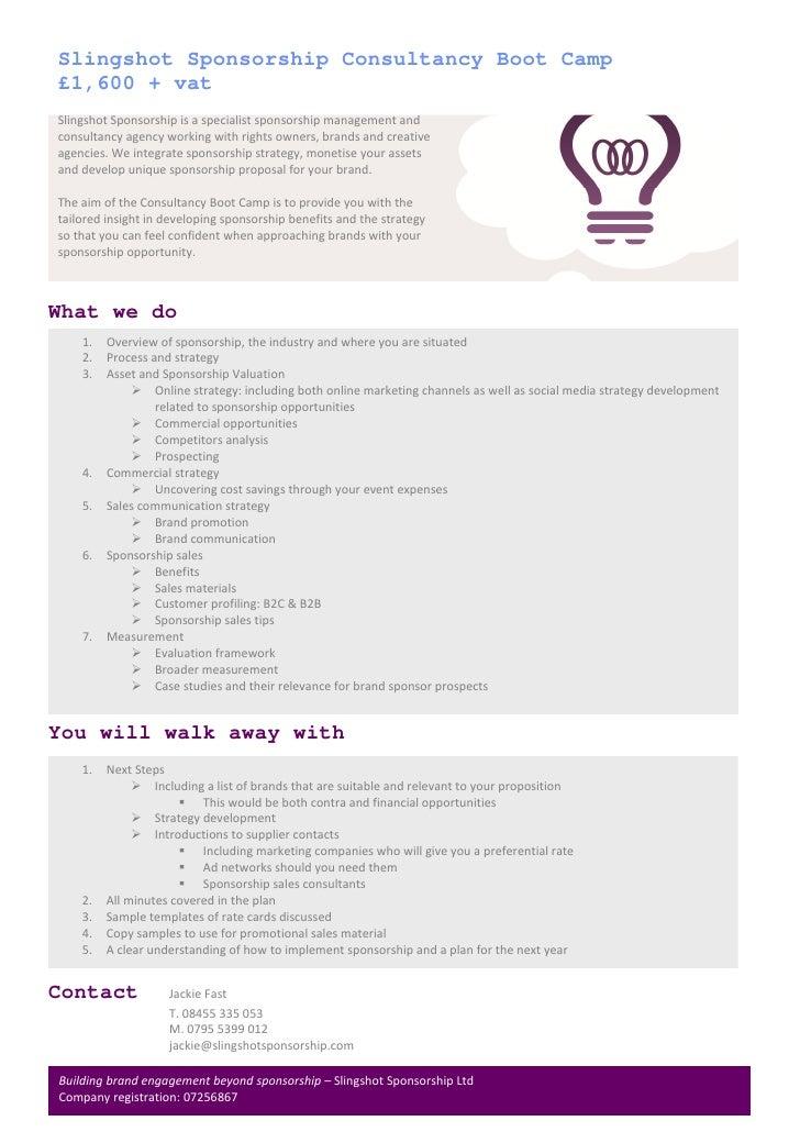 Slingshot Sponsorship Consultancy Boot Camp 2011
