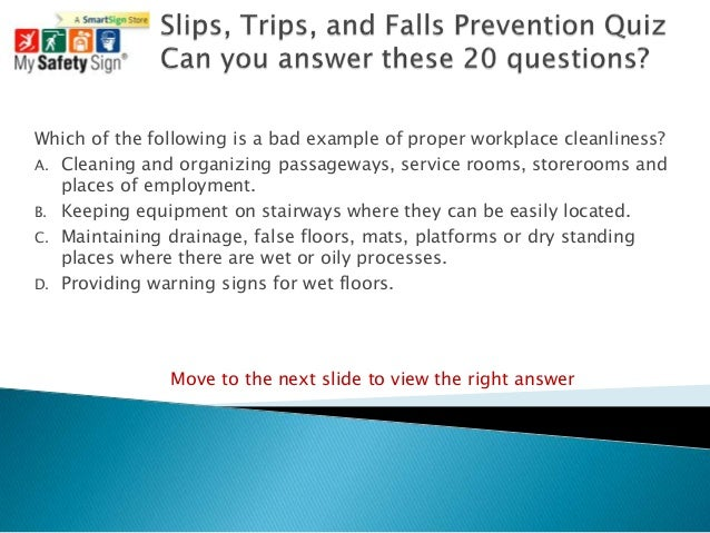 Slips Trips And Falls Prevention Quiz