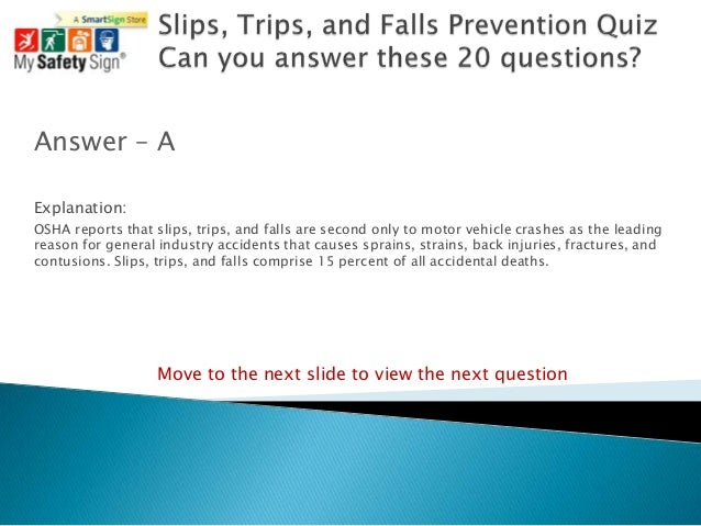 Slips, Trips, And Falls Prevention Quiz
