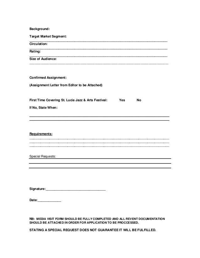 Saint Lucia Jazz & Arts Festival Media Accreditation Form