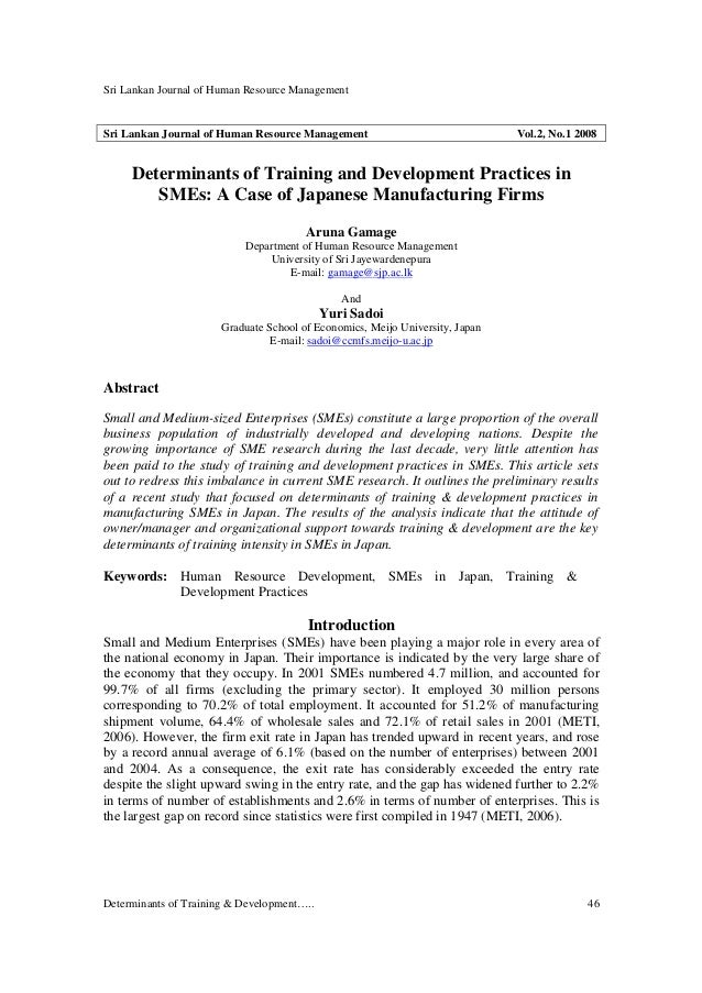 Sri Lankan Journal of Human Resource Management Determinants of Training & Development….. 46 Sri Lankan Journal of Human R...