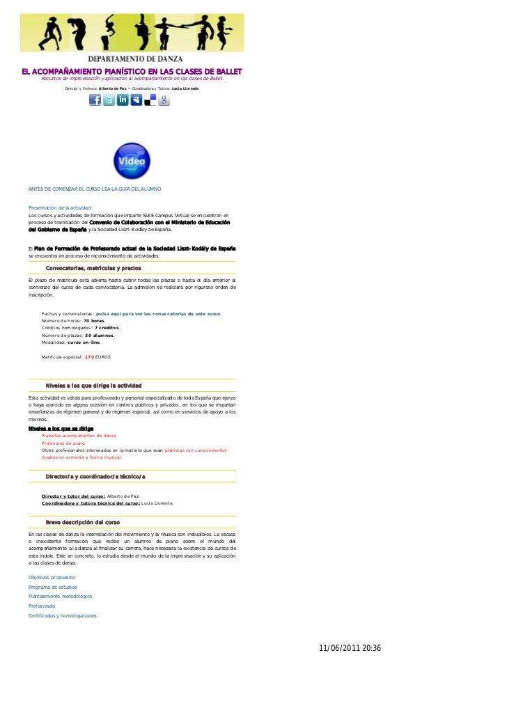 EL ACOMPAÑAMIENTO PIANÍSTICO EN LAS CLASES DE BALLET      Recursos de improvisación y aplicación al acompañamiento en las ...