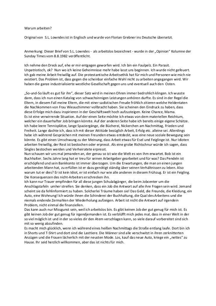 Warum arbeiten?Original von S.L. Lowndes ist in Englisch und wurde von Florian Grebner ins Deutsche übersetzt.Anmerkung: D...