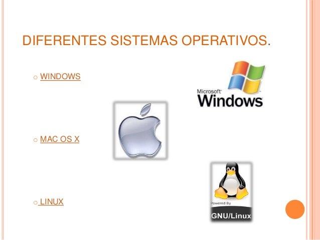 DIFERENTES SISTEMAS OPERATIVOS. o WINDOWS o MAC OS X o LINUX