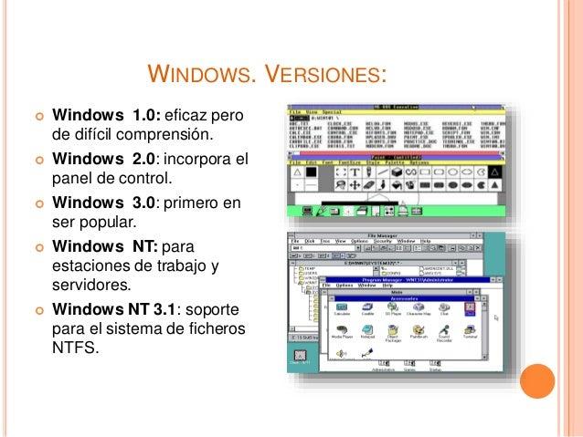 WINDOWS. VERSIONES:  Windows 1.0: eficaz pero de difícil comprensión.  Windows 2.0: incorpora el panel de control.  Win...