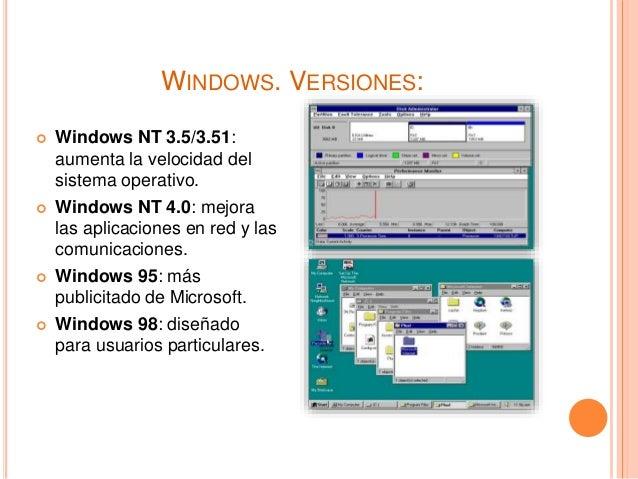 WINDOWS. VERSIONES:  Windows NT 3.5/3.51: aumenta la velocidad del sistema operativo.  Windows NT 4.0: mejora las aplica...