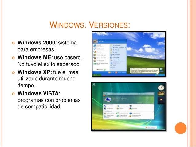 WINDOWS. VERSIONES:  Windows 2000: sistema para empresas.  Windows ME: uso casero. No tuvo el éxito esperado.  Windows ...