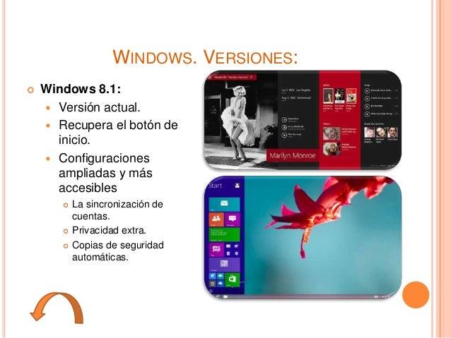 WINDOWS. VERSIONES:  Windows 8.1:  Versión actual.  Recupera el botón de inicio.  Configuraciones ampliadas y más acce...
