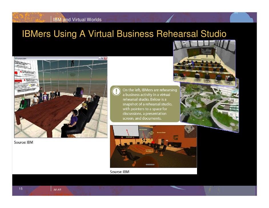 IBM and Virtual Worlds    IBMers Using A Virtual Business Rehearsal Studio     15      IM AR