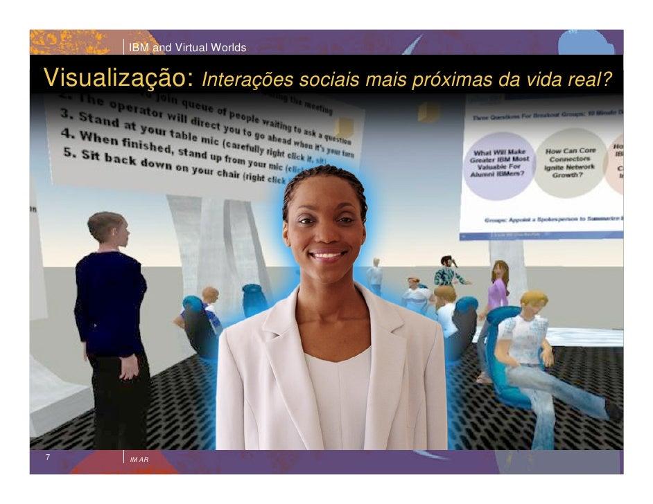 IBM and Virtual Worlds   Visualização: Interações sociais mais próximas da vida real?     7        IM AR