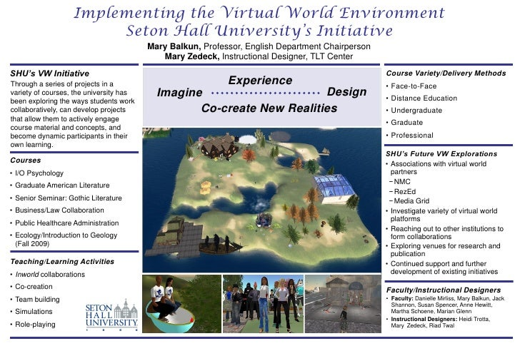 Implementing the Virtual World Environment                          Seton Hall University's Initiative                    ...