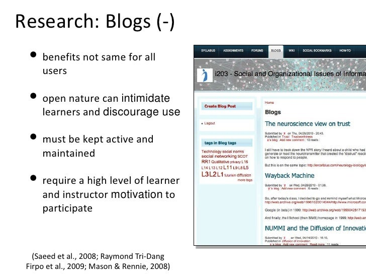 Research: Blogs (-) <ul><li>benefits not same for all users </li></ul><ul><li>open nature can  intimidate  learners and  d...