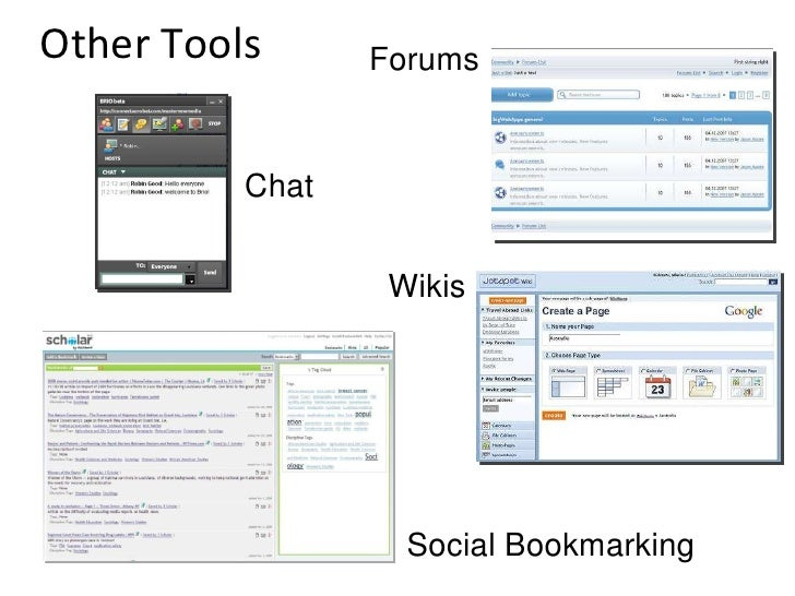 Other Tools Chat Forums Wikis Social Bookmarking