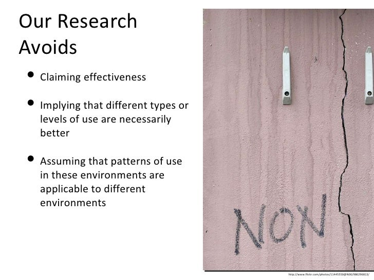 Our Research Avoids <ul><li>Claiming effectiveness </li></ul><ul><li>Implying that different types or levels of use are ne...