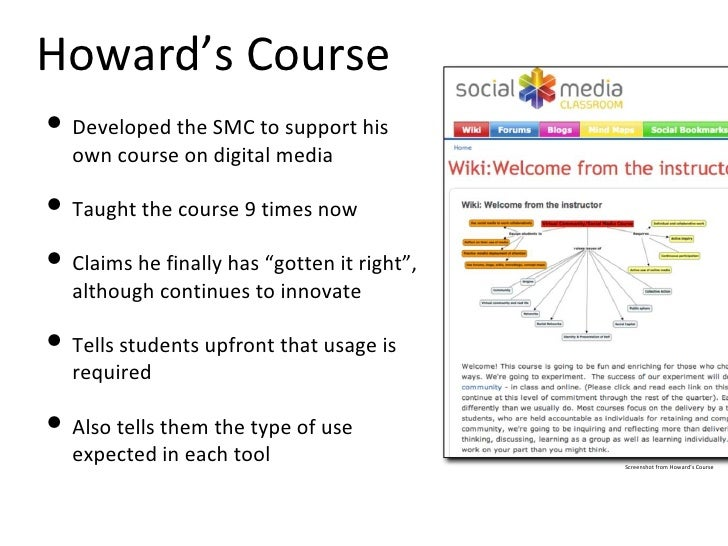 Howard's Course <ul><li>Developed the SMC to support his own course on digital media </li></ul><ul><li>Taught the course 9...
