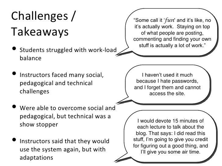 Challenges / Takeaways <ul><li>Students struggled with work-load balance </li></ul><ul><li>Instructors faced many social, ...