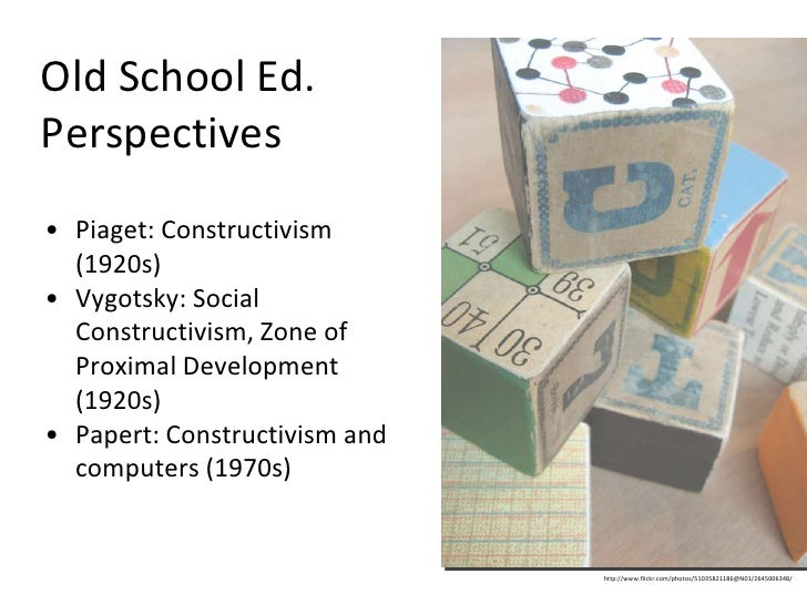 Old School Ed. Perspectives <ul><li>Piaget: Constructivism (1920s) </li></ul><ul><li>Vygotsky: Social Constructivism, Zone...