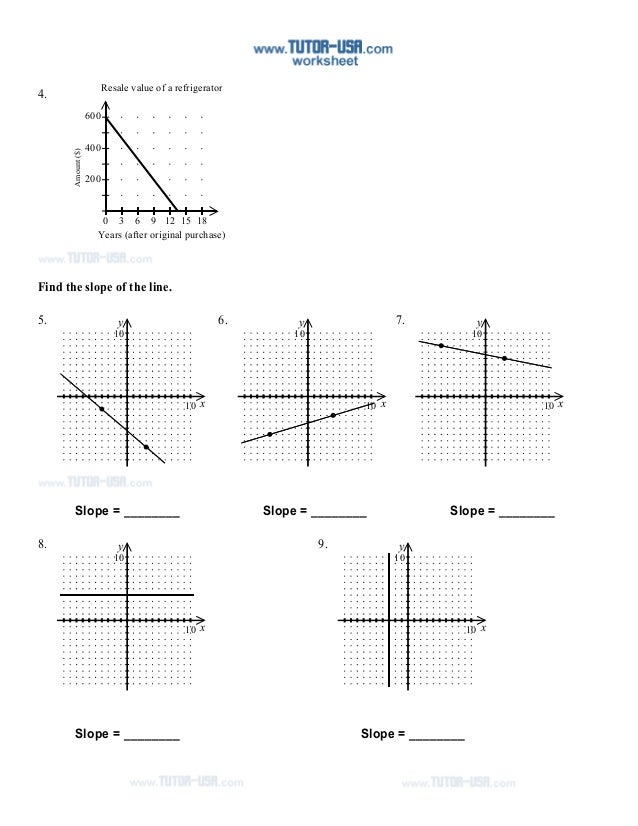 Worksheet Finding Slope Worksheet slope rate change tables worksheet