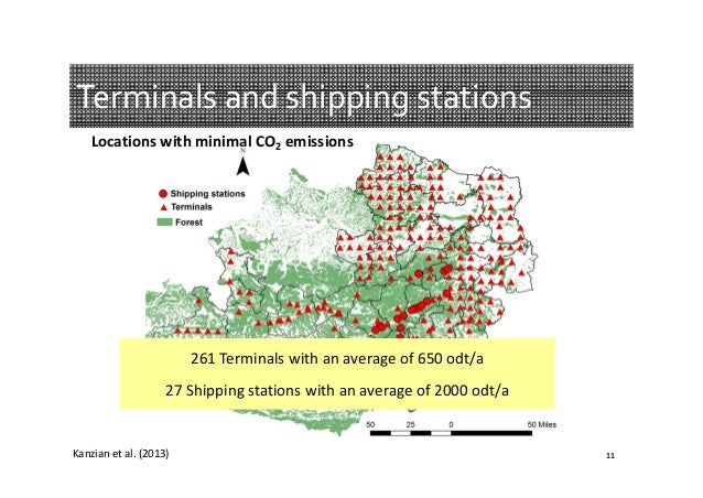 Terminalsandshippingstations LocationswithminimalCO2 emissions  261Terminalswithanaverageof650odt/a 27Shippi...