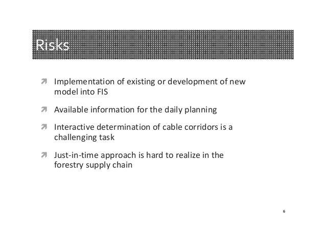 Risks  Implementationofexistingordevelopmentofnew  modelintoFIS  Availableinformationforthedailyplanning ...
