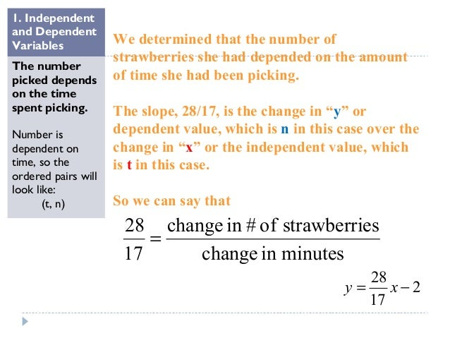  Interpret slope : for every 17 minutes she picked 28 strawberries.  Or, if we find the unit rate by dividing, we get 1....