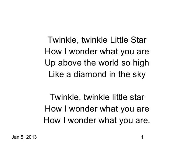Twinkle, twinkle Little Star              How I wonder what you are              Up above the world so high               ...