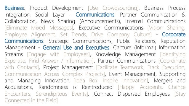 Business: Product Development [Use Crowdsourcing], Business Process Integration, Social Layer - Communications: Partner Co...