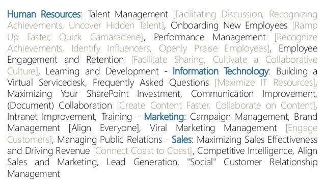 Human Resources: Talent Management [Facilitating Discussion, Recognizing Achievements, Uncover Hidden Talent], Onboarding ...