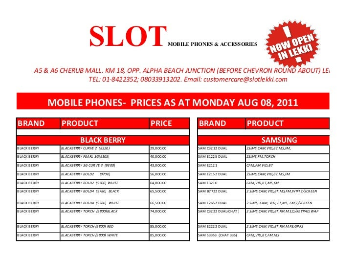 Slot computer price list
