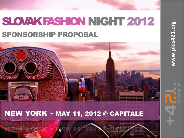 SLOVAK FASHION NIGHT 2012 SPONSORSHIP PROPOSAL – Sponsorship Proposals for Events