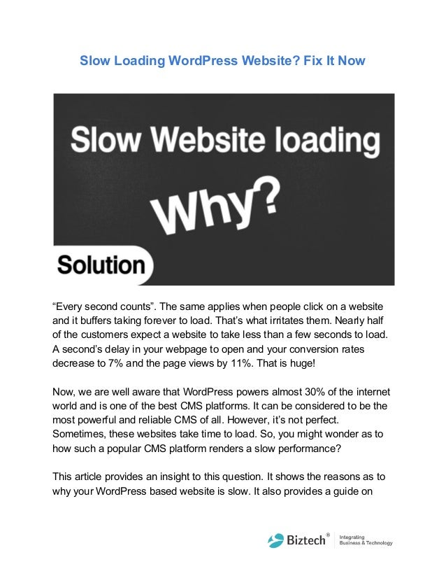 Slow loading word press website fix it now
