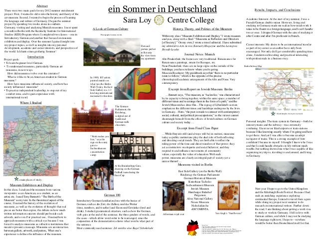 ein Sommer in Deutschland                             AbstractThere were two main goals for my 2012 summer enrichment     ...