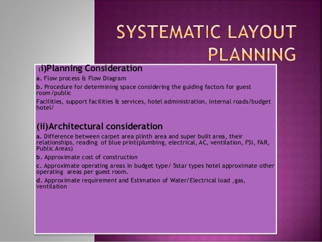 Systematic Layout Planning