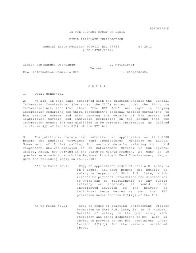 REPORTABLEIN THE SUPREME COURT OF INDIACIVIL APPELLATE JURISDICTIONSpecial Leave Petition (Civil) No. 27734 of 2012(@ CC 1...