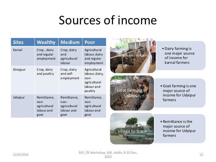 Sources of income <br />12/9/2010<br />SLP_CR Workshop, ILRI, Addis, 9-10 Dec, 2010<br />12<br />