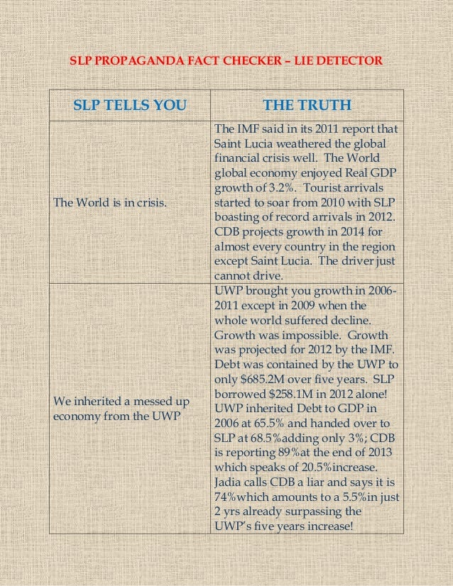 SLP PROPAGANDA FACT CHECKER – LIE DETECTOR SLP TELLS YOU THE TRUTH The World is in crisis. The IMF said in its 2011 report...