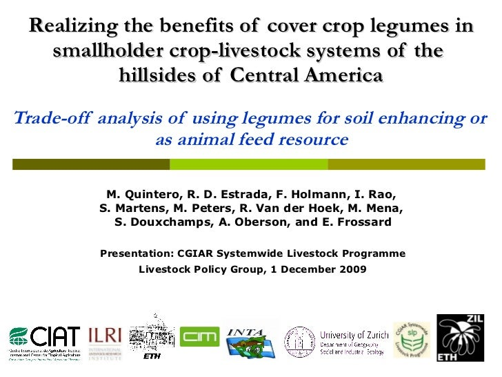 Realizing the benefits of cover crop legumes in smallholder crop-livestock systems of the  hillsides of Central America Tr...