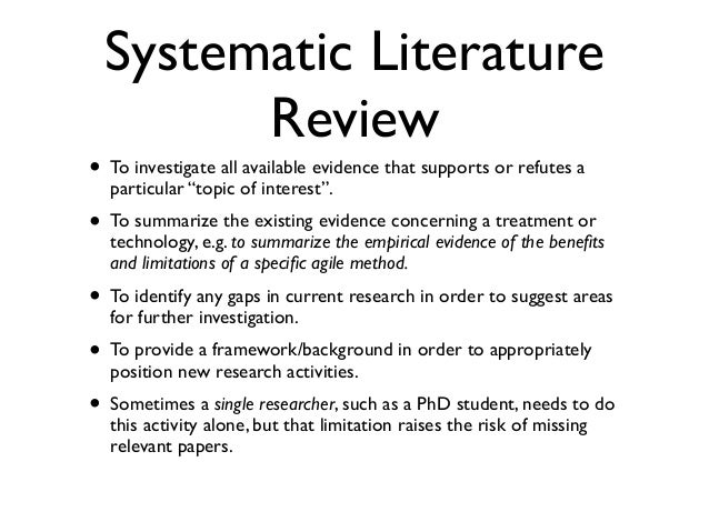 what is systematic literature review information technology essay Come the cottage industry of the systematic review  information and computer technology interventions  to a systematic literature search but .