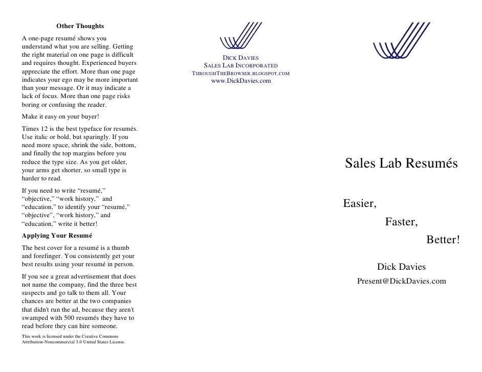 sales lab resumes handout