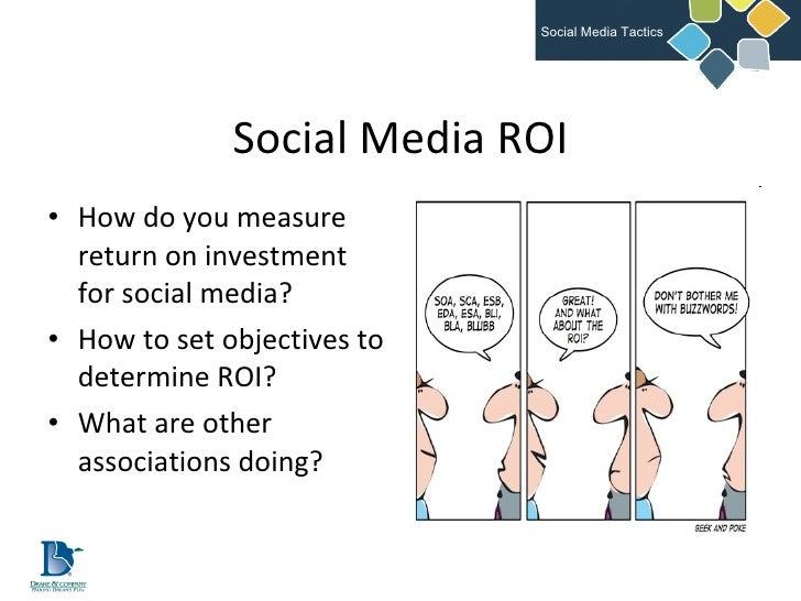 Social Media ROI <ul><li>How do you measure return on investment for social media? </li></ul><ul><li>How to set objectives...