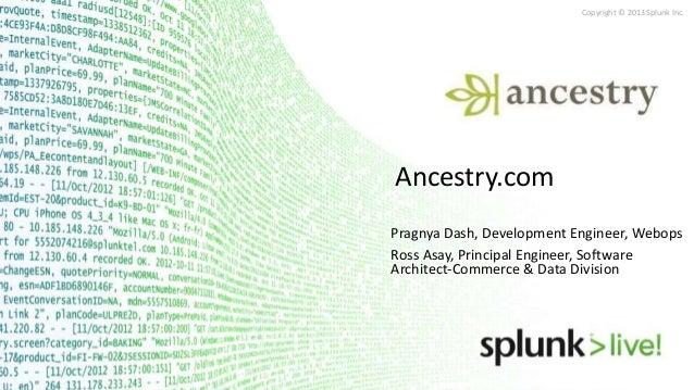 Copyright © 2013 Splunk Inc.Ancestry.comPragnya Dash, Development Engineer, WebopsRoss Asay, Principal Engineer, SoftwareA...