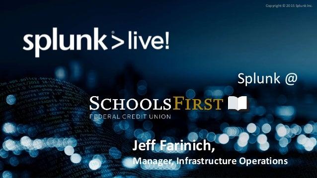 Copyright © 2015 Splunk Inc. Splunk @ Jeff Farinich, Manager, Infrastructure Operations