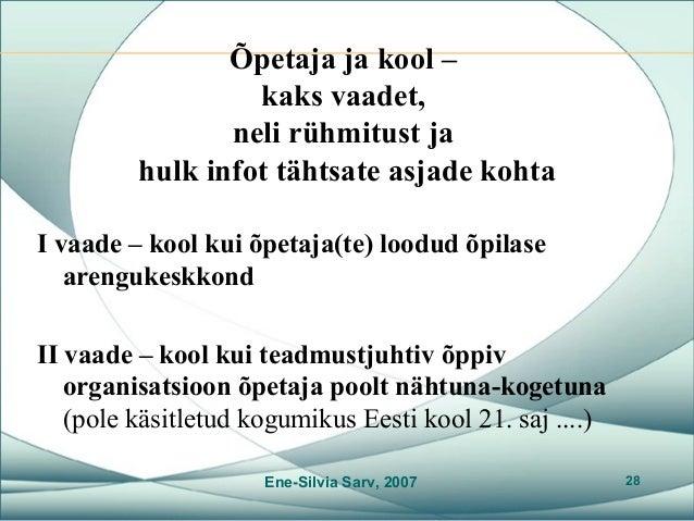 c7177381a76 Õpetaja vaatest õpilasele ja koolile Ene-Silvia Sarv, 2007 27; 28. Õpetaja ja  kool ...