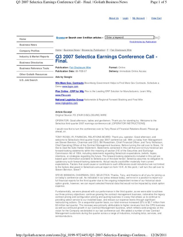 Q3 2007 Selectica Earnings Conference Call - Final. | Goliath Business News  About Us  Home  Browse or Search over 5 milli...
