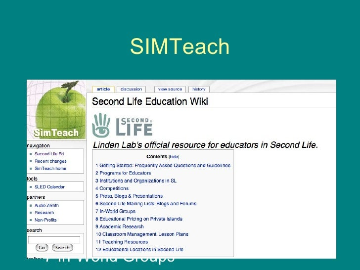 SIMTeach <ul><li>1 Getting Started: Frequently Asked Questions and Guidelines </li></ul><ul><li>2 Programs for Educators <...