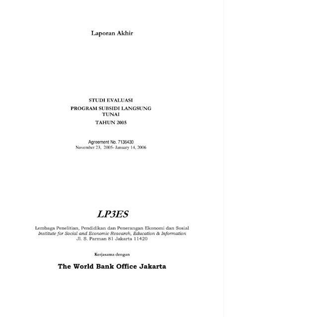Evaluasi Program Subsidi Langsung Tunai 2005