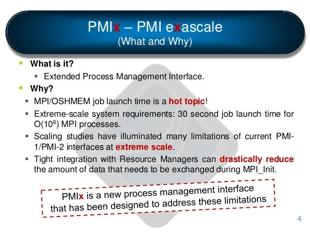 PMIx – PMI exascale (What and Why)  What is it?  Extended Process Management Interface.  Why?  MPI/OSHMEM job launch t...